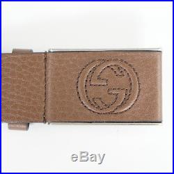 Sz 38 NEW $395 GUCCI Mens Brown PEBBLE LEATHER Square GG SOHO Buckle BELT Unisex
