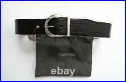 TOM FORD Black Grain Leather Belt with Silver Horseshoe Buckle 34 US 50 Euro 85 CM