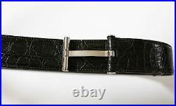 TOM FORD Rare Forest Green Crocodile Leather T Buckle Belt Size 36 US 90 CM