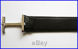 TOM FORD Rare Forest Green Crocodile Leather T Buckle Belt Size 38 US 95 CM