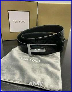 TOM FORD Silver Crocodile Icon Belt Size 110 cm / 44 (100% Authentic & New)