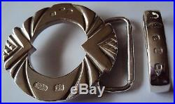 The Savoy Solid Sterling Silver Art Deco Style Belt Buckle with Belt Keeper
