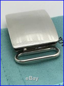 Tiffany & Co Sterling Silver Plaid Engine Turned Belt Buckle Classic W. Pouch