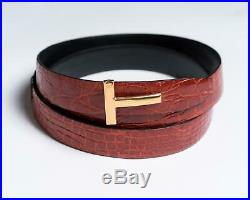 Tom Ford $1,490 NWT Red T Buckle Crocodile Leather Belt 120 cm 44 US