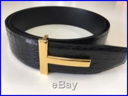 Tom Ford Genuine Crocodile Leather Square T Buckle Belt 95/38 100% Authenhic New
