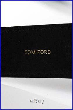 Tom Ford Mens Black Cracked Leather Gold Buckle Belt Size Italian 42 New 9455