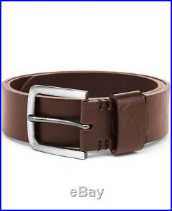 Twisted Soul Mens Belt Brown Faux Leather Prong Buckle Embossed Logo Keeper