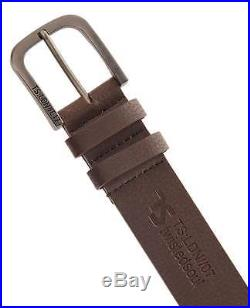 Twisted Soul Mens Belt Brown Faux Leather Textured Embossed Logo Prong Buckle