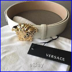VERSACE WHITE LEATHER MEDUSA BELT 3D GOLD BUCKLE SIZE 100/40 fits 34-36