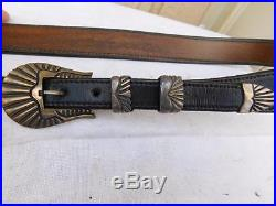 Vintage Chacon Leather Belt With Sterling Silver Belt Buckle Set In Shell Design