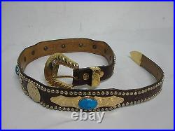 VTG AL BERES WAGES GERMAN SILVER GOLD WASH w TURQUOISE BROWN LEATHER BELT SZ 30