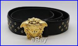 Versace Black Leather Belt with Gold Medusa Head Buckle DCU5129 Size 95/38