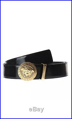Versace Men Belt Black Patent with Gold Buckle Luxury Leather MADE IN ITALY