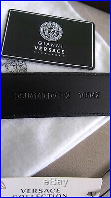 Versace Mens Belt Medusa Head EROS Gold Buckle Leather Black Made In Italy