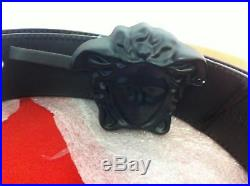 Versace Palazzo Belt with Medusa Buckle for Men Black on Black Size 85 RARE BUY