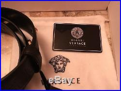 Versace Unisex Belt Leather Gold Buckle Medusa Head Eros Made in Italy