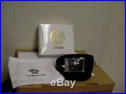 Versace leather black belt Medusa size 100 new with box silver buckle