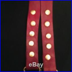 Vintage 1970s Victorian Metal Clasping Holding Hands Buckle Leather Belt RARE