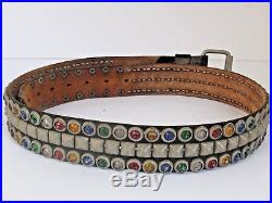 Vintage Mans Motorcycle Belt with Colorful Studs c. 1950's 1960's Large