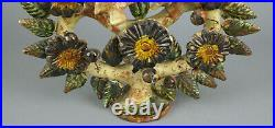 Vintage Mexico Mexican Tree Of Life Candelabra Folk Art Pottery