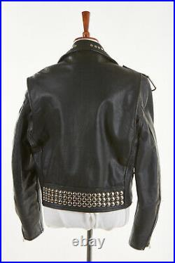 Vintage PRIME PARTS JUST BRASS Leather Jacket L in Black Studs Chains Motorcycle