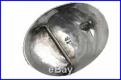 Vintage S. Ray Handmade Sterling Silver Turquoise Horse Shoe Feather Belt Buckle